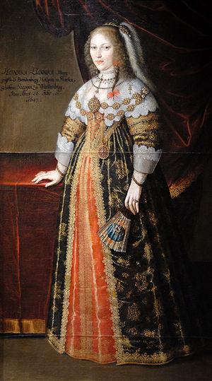 Albert II, Margrave of Brandenburg-Ansbach - Albert's first wife, Henriette Louise of Württemberg-Mömpelgard, in a painting by Benjamin Block, 1643