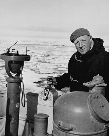 Henry Larsen becomes the first person successfully to navigate the Northwest Passage in both directions, westbound July-October 1944. Henry Larsen on St Roch.jpg