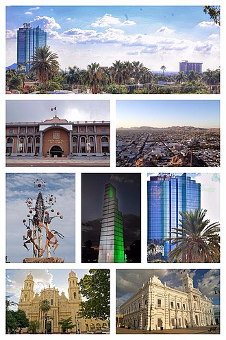 Hermosillo - Panoramic view of Hermosillo, Judicial Power of the State of Sonora, View of the city, Sculpture, Fountain three boulevard, Hermosillo Tower, Catedral de la Asuncion in Hermosillo, Government Palace of Sonora.