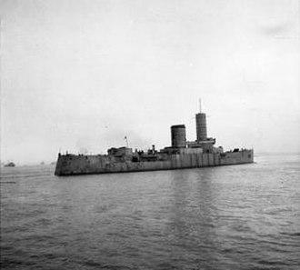 Braunschweig-class battleship - Hessen as a target ship in 1946