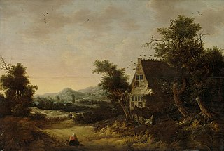Hilly landscape with peasant cottage
