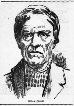 Hiram Cronk - Hiram Cronk, Pensioner of 1812, in The Broad Ax newspaper June 2, 1900