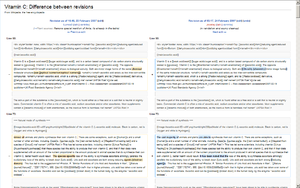 Wiki - History comparison reports highlight the changes between two revisions of a page.