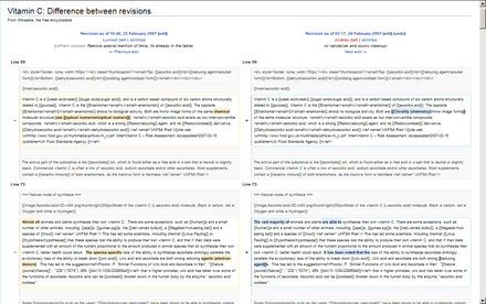 History comparison reports highlight the changes between two revisions of a page. History Comparison Example (Vector).png