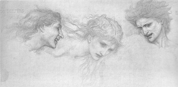 Heads of Despight, Cruelty, and Dame Amoret, Burnes-Jones's study for The Masque of Cupid, from a print by Hollyer.