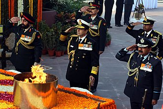 Navy Day - A homage ceremony at Amar Jawan Jyoti on during the Navy Day celebrations in New Delhi, 2015.