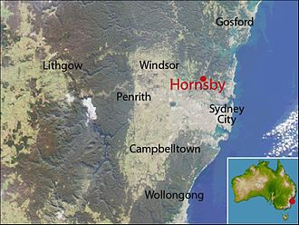 Hornsby, New South Wales - Location map of Hornsby based on NASA satellite images