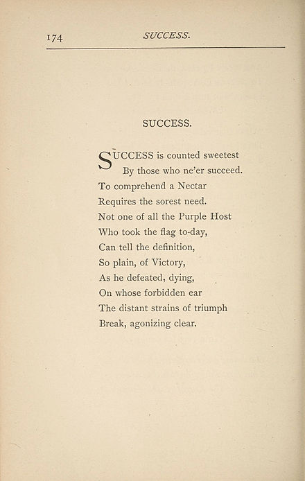 Essay on poem by emily dickinson success is counted sweetest