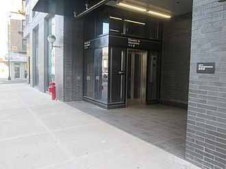Hoyt–Schermerhorn Streets (New York City Subway) - Station entrance at 209 Schermerhorn Street, seen in 2018; the entrance now contains an elevator to mezzanine level
