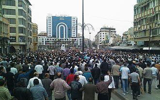 Civil uprising phase of the Syrian Civil War - Image: Huge demonstration in Homs against Al Assad regime