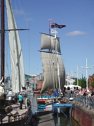 "Humber Keel - The Humber Keel ""Comrade"" at Hull Marina, showing the square rigged sails."