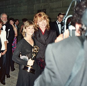 Amy Madigan - Madigan with Holly Hunter at the 41st Primetime Emmy Awards in 1989