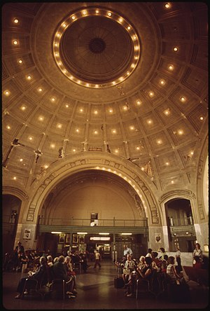 Union Station (Tacoma, Washington) - The interior of the rotunda in 1974. Passenger service would continue until 1984.