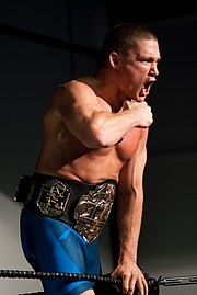 A man in blue shorts and a championship belt is shouting.