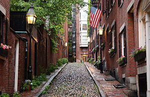 Beacon Hill, Boston - Window boxes on cobblestoned Acorn Street