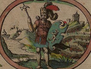 "Ida of Bernicia - Imaginary depiction of Ida from John Speed's 1611 ""Saxon Heptarchy"""