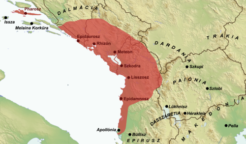 Illyrian Kingdom of Agron in 231 BC (Hungarian).png