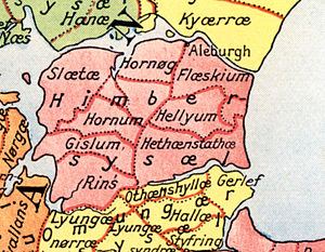 Himmerland - An old map of Himmerland, between the Limfjord and Mariager Fjord in Jutland.