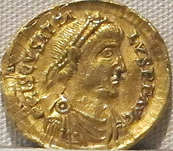 Impero d'occidente, prisco attalo, emissione aurea, 409-415.JPG