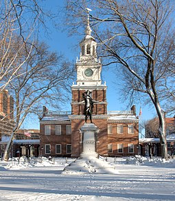 Independence Hall, where the Declaration of Independence and the Constitution were adopted Independence Hall, with John Barry statue, Philadelphia.jpg