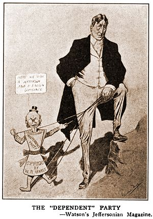 Independence Party (United States) - Millionaire publisher William Randolph Hearst was the financial angel of the Independence Party, an organization represented in this contemporary cartoon as his fawning puppet.