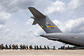 Indian Army paratroopers approach the boarding ramp of a C17 Globemaster aircraft for an airborne operation with the U.S. Army, 82nd Airborne Division's 1st Brigade Combat Team in 2013.jpg