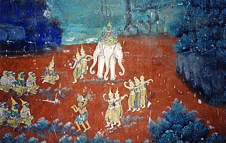 Reamker - A scene depicting Indra on his mount, Airavata.
