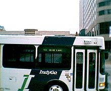 A sideview of an IndyGo bus