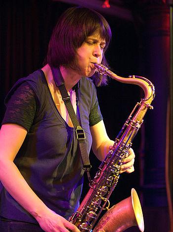English: Ingrid Laubrock, Jazz saxophonist; Pi...
