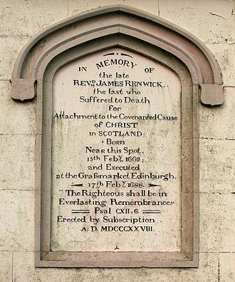 James Renwick (Covenanter) - Inscription on the Renwick Monument, Moniaive