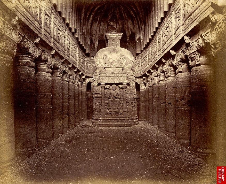 Interior of Buddhist chaitya hall, Cave XXVI, Ajanta, c.1868