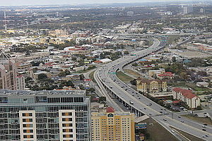 Interstate 37 - Interstate 37 from the top of the Tower of the Americas in San Antonio, Texas