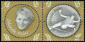 Iolanda Balaș - Balaș on 2004 Romanian stamps