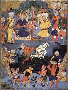 08bdd7d3dd56c منمنمة فارسية تظهر ذو القرنين وهو يبني جداراً حديدياً بمساعدة الجن لعزل يأجوج  ومأجوج.