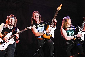 Janick Gers - Gers (right) performing with Adrian Smith and Dave Murray in Costa Rica.