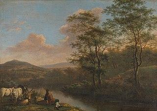 Italian landscape with resting herdsman