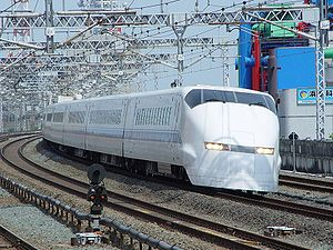 300 Series Shinkansen - Prototype set J1 near Hamamatsu Station on a test run, April 2003