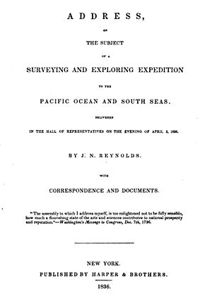 The Narrative of Arthur Gordon Pym of Nantucket - Address on the Subject of a Surveying and Exploring Expedition to the Pacific Ocean and the South Seas (1836) by explorer Jeremiah N. Reynolds was a heavy influence on Poe's novel.