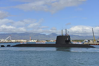Sōryū-class submarine - Image: JS Hakuryu (SS 503) arrives at Joint Base Pearl Harbor Hickam for a scheduled port visit, 6 Feb. 2013 (YP255 023)