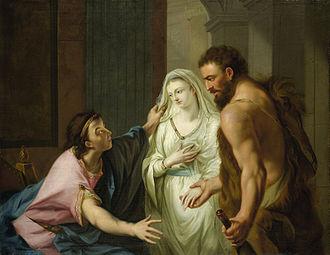 Admetus - Herkules entreißt Alkestis dem Totengott Thanatos und führt sie dem Admetus zu by Johann Heinrich Tischbein (circa 1780)