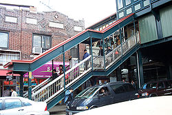 An entrance to the elevated IRT Flushing Line in Jackson Heights, Queens.