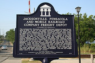Tallahassee station - Image: Jacksonville, Pensacola and Mobile Railroad Company Freight Depot historical marker (South face)
