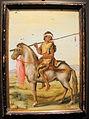 Jacopo ligozzi, giovane uomo a cavallo, tempera su vetro, collez. privata.JPG