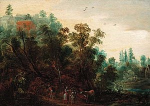 Jacques Backereel - Wooded landscape with travellers on a path