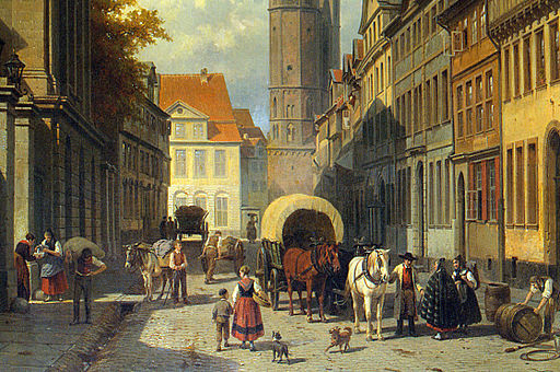 Jacques Carabain - Busy Street in a German Town - detail