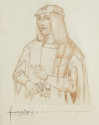 The Thrissil and the Rois -  James IV sketched by Jacques Le Boucq. Middle sixteenth century.