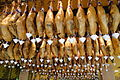 Jamon Serrano and Jamon Iberico - Ceiling Display in Restaurant - Granada - Spain.jpg