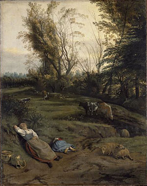 Jan Siberechts - Pasture with two sleeping shepherdesses