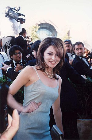 Slip dress - Jane Leeves wearing a blue slip-dress in 1995