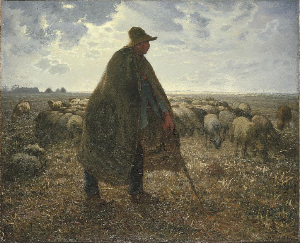 Jean-François Millet - Shepherd Tending His Flock - Google Art Project